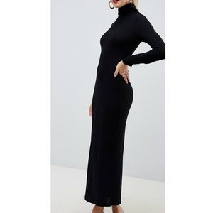 High neck rib maxi with long sleeves